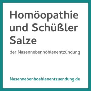 Homoeopathie und Schuessler Salze bei Nasennebenhoehlenentzuendung
